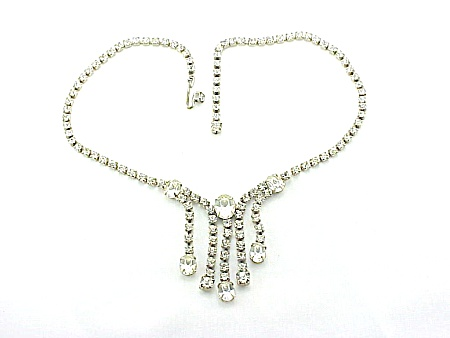 VINTAGE COSTUME JEWELRY - CLEAR RHINESTONE CHOKER NECKLACE WITH DANGLES (Image1)