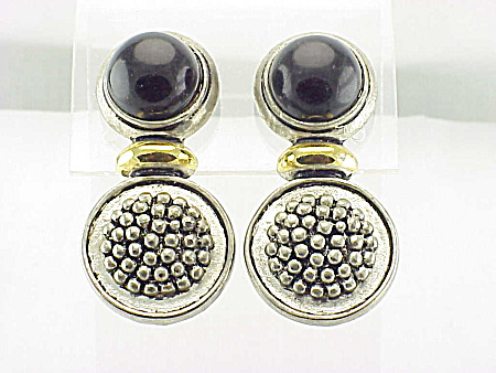 Costume Jewelry - Silver & Gold Tone Clip Earrings With Black Stone