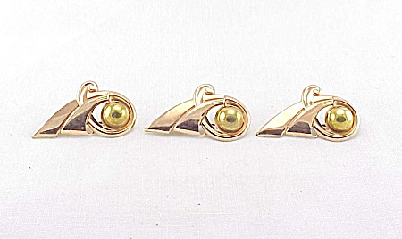 VINTAGE COSTUME JEWELRY - 3 VAN DELL  ART DECO 12K GOLD FILLED & COPPER SCATTER PINS OR BROOCHES (Image1)