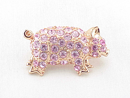 VINTAGE COSTUME JEWELRY - PINK RHINESTONE LITTLE PIG PIGGY ROSE GOLD TONE BROOCH OR PIN (Image1)