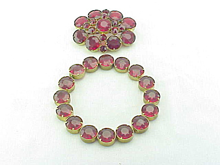 Vintage Czech Red Glass Rhinestone Bracelet And Brooch Set