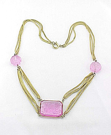VINTAGE COSTUME JEWELRY - ART NOUVEAU LALIQUE STYLE ETCHED PINK GLASS FESTOON NECKLACE (Image1)