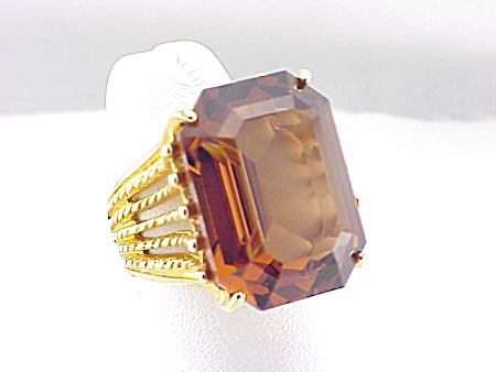 Vintage Costume Jewelry - 14k Hge Gold Tone Ring With Large Topaz Rhinestone