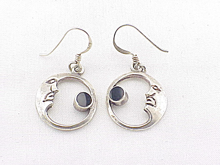STERLING SILVER AND BLACK ONYX MAN IN THE MOON PIERCED EARRINGS SIGNED CW (Image1)