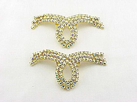 VINTAGE GOLD AURORA BOREALIS RHINESTONE SHOE CLIPS (Image1)