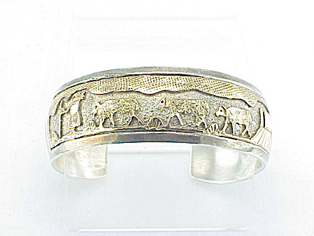 Native American Signed Sterling Silver Gold Storyteller Cuff Bracelet