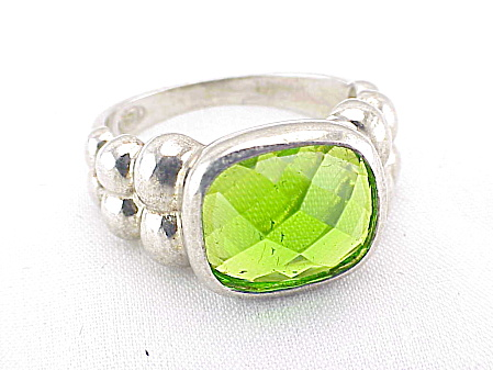 Sterling Silver Ring With Green Faceted Glass Stone
