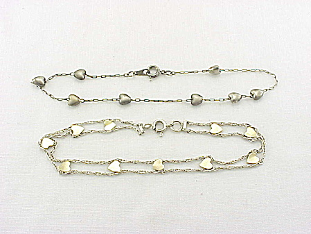 Sterling Silver Bracelet And Anklet - Both With Hearts