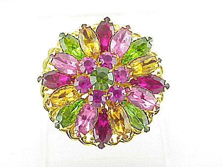 VINTAGE COSTUME JEWELRY - PINK, PURPLE, AMBER & GREEN RHINESTONE BROOCH (Image1)