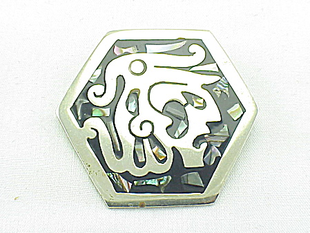 VINTAGE COSTUME JEWELRY - ENAMEL & ABALONE WARRIOR BROOCH PENDANT SIGNED ALPACA, MEXICO (Image1)