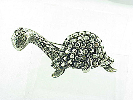 Costume Jewelry - Vintage Silver Tone Marcasite Dinosaur Or Turtle Brooch
