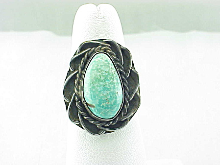 Vintage Native American Turquoise And Sterling Silver Ring