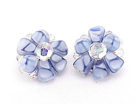 Vintage Blue Marbled Glass Bead And Crystal Clip Earrings