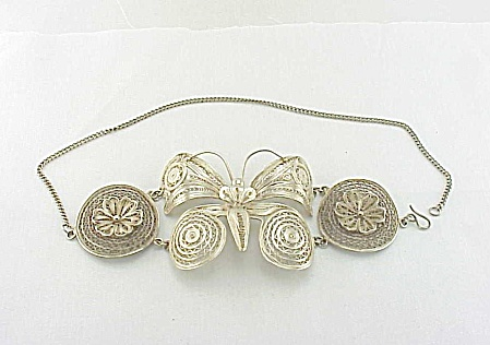 Vintage Wide Sterling Silver Filigree Butterfly Choker Necklace