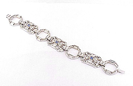Vintage Art Deco Blue And Clear Rhinestone Bracelet