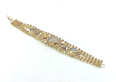 Vintage Wide Amber And Smoky Brown Rhinestone Bracelet