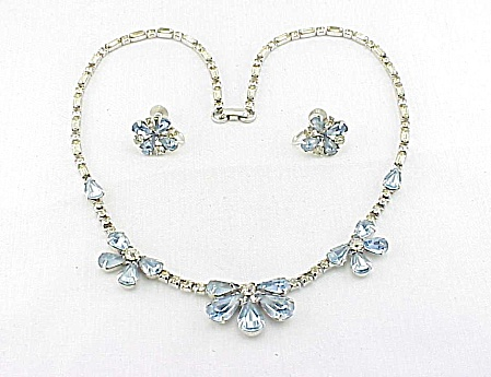 Vintage Blue And Clear Rhinestone Necklace Screwback Earrings Set