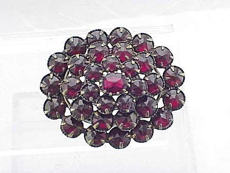 Antique Czech Bohemian Garnet 4 Tier Gold Brooch