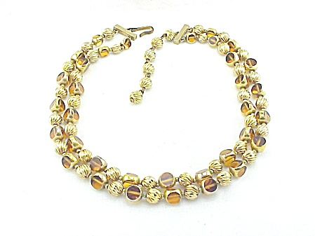 Vintage Double Strand Unique Amber Glass And Gold Bead Necklace