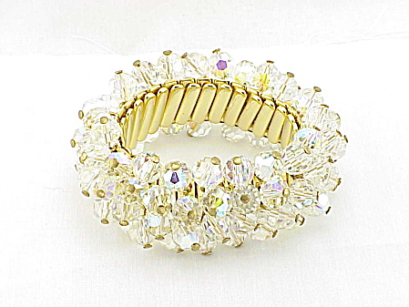 VINTAGE COSTUME JEWELRY - JAPAN AURORA BOREALIS CRYSTAL STRETCH BRACELET (Image1)