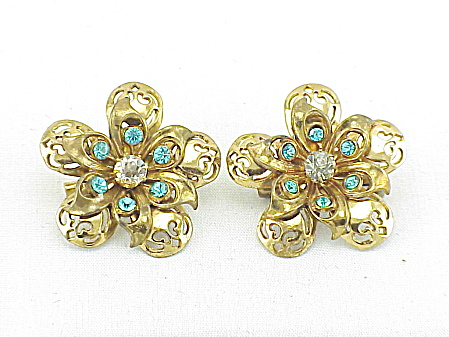 Vintage Pair Of Coro Blue Rhinestone Scatter Pin Brooches