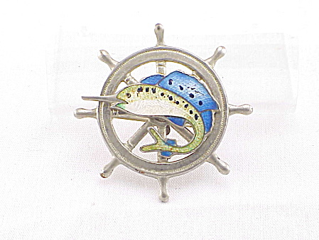Vintage Enamel Sailfish On Ship's Wheel Brooch Or Pin