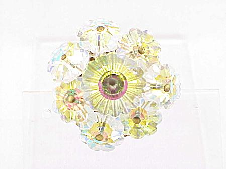 VINTAGE AURORA BOREALIS RIVOLI GLASS CRYSTAL BROOCH (Image1)