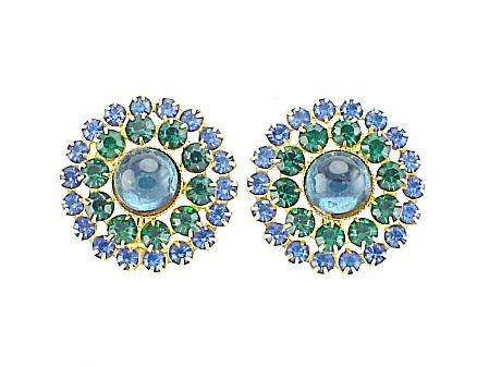 Vintage Blue Glass Cabochon And Green Rhinestone Clip Earrings