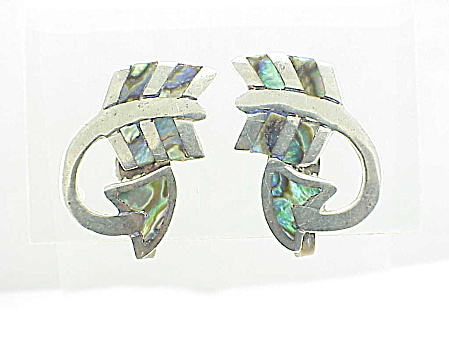 Vintage Mexican Sterling Silver And Abalone Arrow Screwback Earrings