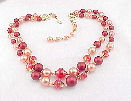 Vintage Hong Kong Orange Pearl Bead Double Strand Necklace