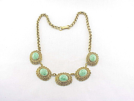 Vintage Art Deco Stamped Brass And Peking Glass Stone Necklace