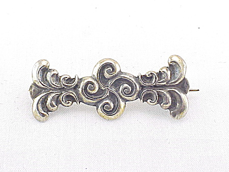 Art Nouveau Hallmarked French Sterling Silver Vintage Brooch