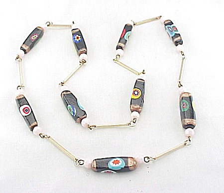 Vintage Venetian Murano Millefiori Glass Bead Necklace