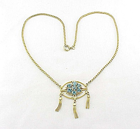 VINTAGE COSTUME JEWELRY - ART DECO BLUE RHINESTONE NECKLACE WITH TASSELS (Image1)