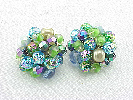 VINTAGE ALICE CAVINESS BLUE GREEN GLASS BEAD CLIP EARRINGS (Image1)