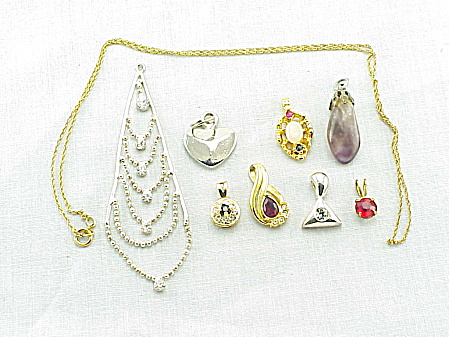 Vintage Costume Jewelry - Lot Of 8 Pendants And 1 Necklace - Rhinestone, Heart, Amethyst