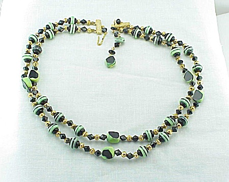 Vintage Art Deco 2 Strand Black And Green Art Glass Bead Necklace
