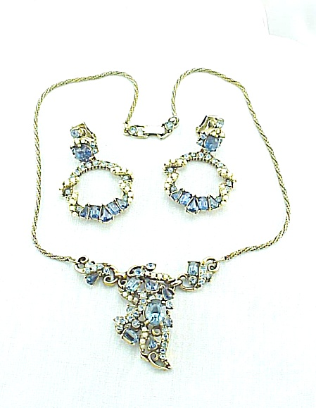 Vintage Hollycraft Blue Rhinestone Necklace And Earrings Set