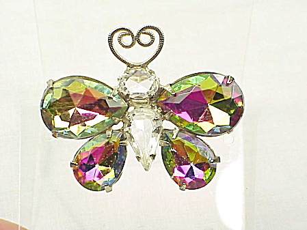Vintage Juliana Watermelon Rhinestone Butterfly Brooch