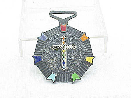 VINTAGE RAINBOW GIRLS ORGANIZATION ENAMEL CROSS OF COLOR MEDAL (Image1)
