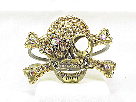 Chunky Bronze Rhinestone Skull And Cross Bones Pirate Clamp Bracelet