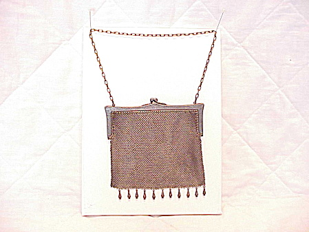 Antique Vintage German Silver Mesh Purse Handbag With Dangles And Etching