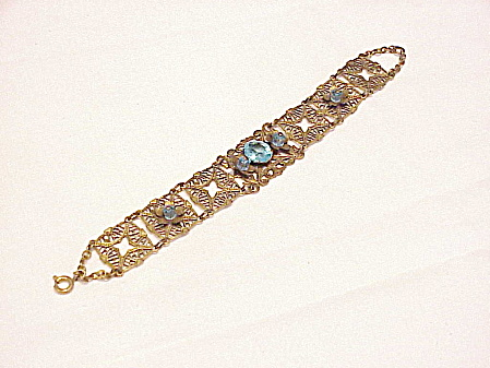 Vintage Victorian Revival Filigree Bracelet With Blue Glass Stones