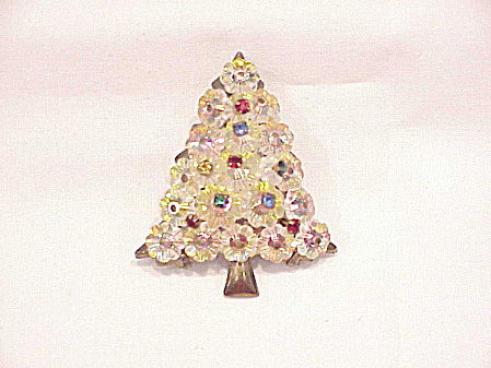 Vintage Rivoli Crystal Glass Bead And Rhinestone Christmas Tree Brooch