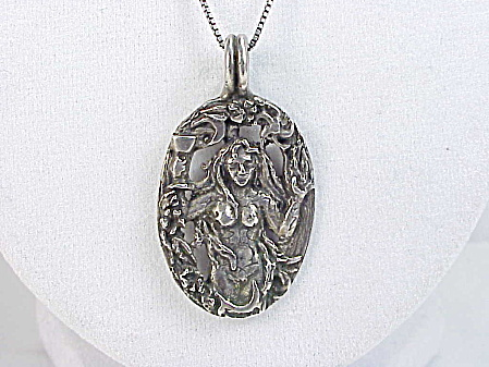 Art Nouveau Nude Woman Mermaid Sterling Silver Pendant Necklace