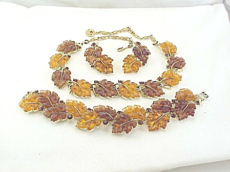 Lisner Autumn Leaf Thermoset Rhinestone Necklace Bracelet Earrings Set