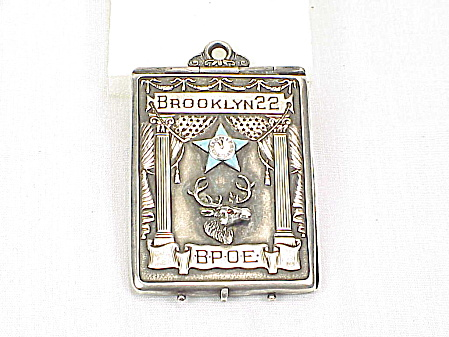 Vintage 1914 Elks Bpoe Brooklyn 22 Sterling Silver Enamel Card Case