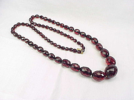 Antique Victorian Faceted Cherry Amber Bead Necklace - 59 Gr 72 Beads