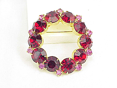 Vintage Dark Red And Pink Rhinestone Circle Brooch