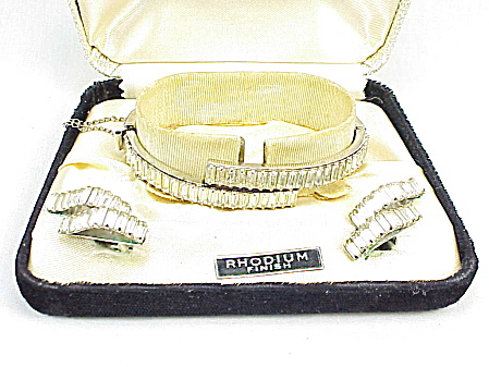 Art Deco Rhinestone Bangle Bracelet And Clip Earrings Set Original Box